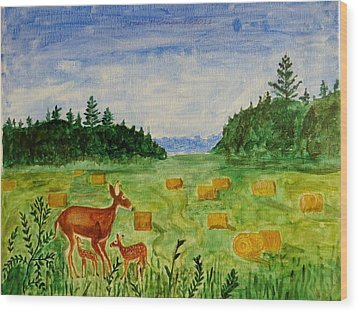Wood Print featuring the painting Mother Deer And Kids by Sonali Gangane