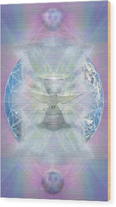 Wood Print featuring the digital art Mother Earth Dove And Chalice by Christopher Pringer