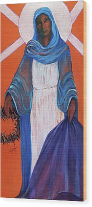 Mother Mary In Sorrow Wood Print by Mary DuCharme