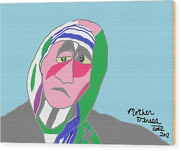 Wood Print featuring the painting Mother Teresa by Anita Dale Livaditis