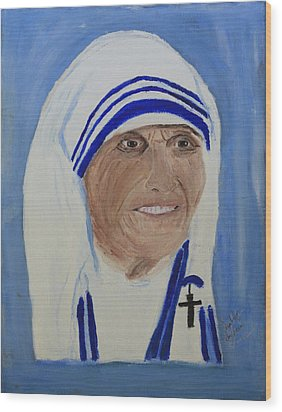 Mother Theresa Wood Print by Swabby Soileau
