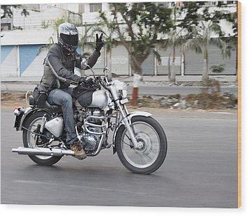 Motorbiker Peace Wood Print by Kantilal Patel
