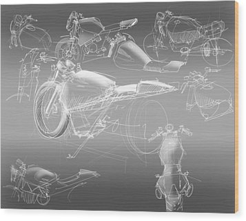 Motorcycle Concept Sketches Wood Print by Jeremy Lacy