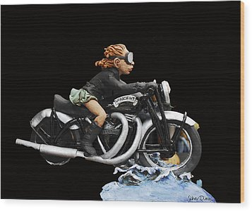 Motorcycle Girl Wood Print by Sidney Dumas