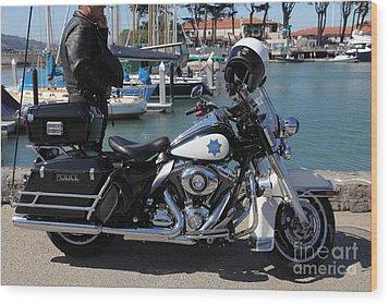 Motorcycle Police At The San Francisco Marina - 5d18266 Wood Print by Wingsdomain Art and Photography