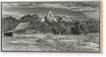 Moulton Barn And The Grand Tetons Wood Print by Sandra Bronstein