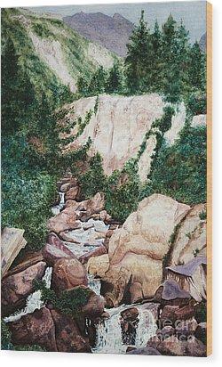 Mounrain Creek Falls Wood Print by Vikki Wicks