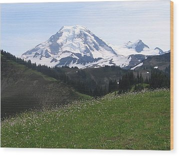 Wood Print featuring the photograph Mount Baker From The Skyline Divide by Karen Molenaar Terrell