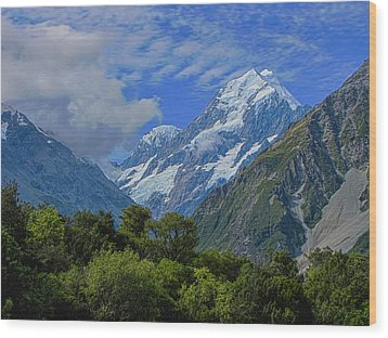 Wood Print featuring the photograph Mount Cook by David Gleeson