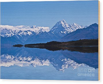 Mount Cook With Reflection Wood Print by Avalon Fine Art Photography