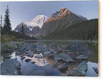 Mount Edith Cavell, Cavell Lake, Jasper Wood Print by Philippe Widling