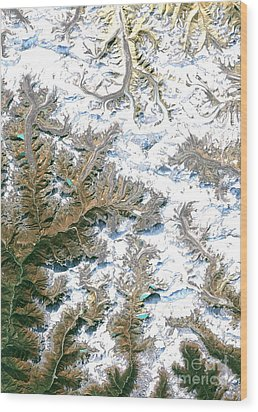 Mount Everest  Wood Print by Planet Observer and Photo Researchers
