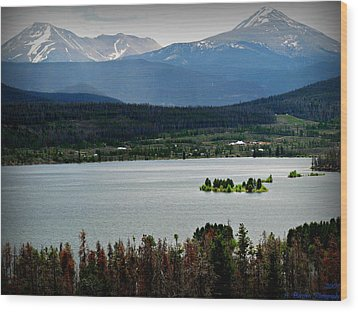 Mount Guyot And Bald Mountain Over Dillon Reservoir Wood Print
