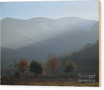 Mount Hermon In Fall Wood Print by Issam Hajjar