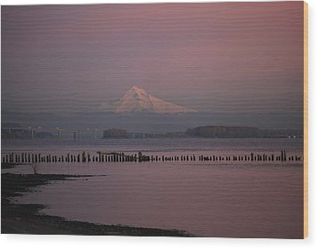 Mount Hood And Columbia River Oregon Washington Wood Print by Sam Amato