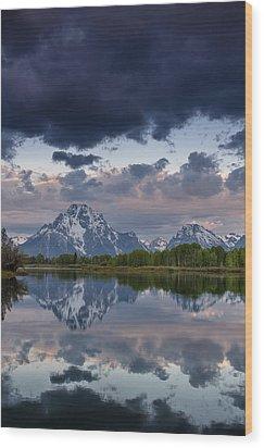 Mount Moran Under Black Cloud Wood Print by Greg Nyquist
