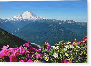 Mount Rainier Seen From Crystal Mountain Summit Wood Print by Tanya  Searcy