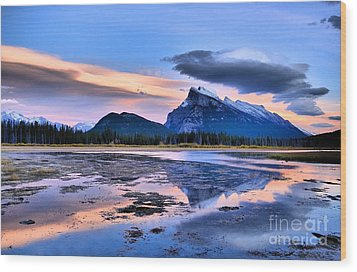 Mount Rundle In The Evening Wood Print by Tara Turner