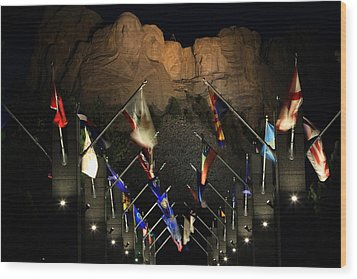 Wood Print featuring the photograph Mount Rushmore By Night by Paul Svensen