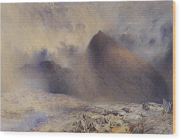 Mount Snowdon Through Clearing Clouds Wood Print by Alfred William Hunt