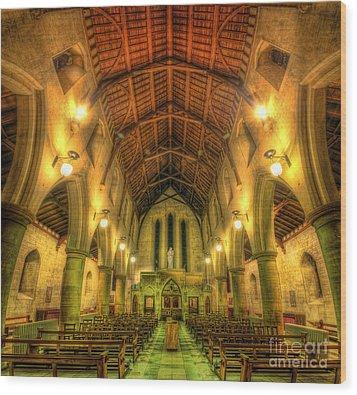 Mount St Bernard Abbey - The Nave Wood Print by Yhun Suarez
