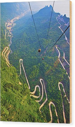 Mount Tianmen Wood Print by Feng Wei Photography