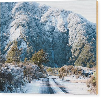 Mountain And Ice Wood Print