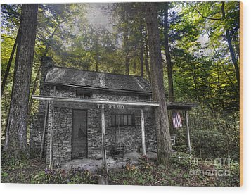 Mountain Cabin Wood Print by Dan Friend
