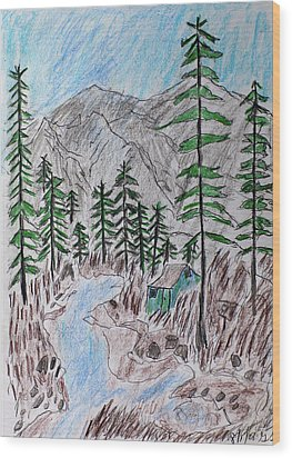 Wood Print featuring the drawing Mountain Cabin Near A Stream by Swabby Soileau