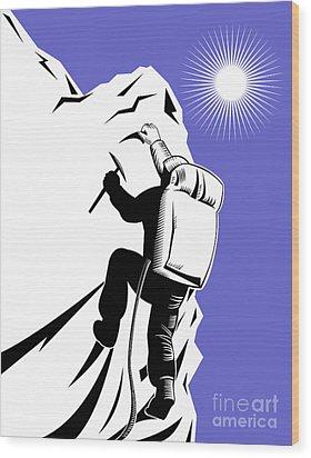 Mountain Climber Climbing Retro Wood Print by Aloysius Patrimonio