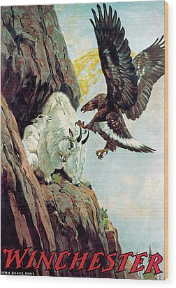 Mountain Goat And Eagle Wood Print by Lynn Bogue Hunt