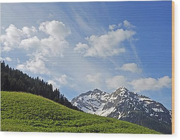 Mountain Landscape In The Alps Wood Print by Matthias Hauser