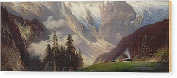 Mountain Landscape With The Grossglockner Wood Print by Nicolai Astudin
