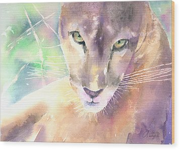 Mountain Lion Wood Print by Arline Wagner