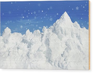 Mountain Of Snow Wood Print by Sandra Cunningham