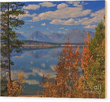 Mountain Reflections In Autumn Grand Tetons Wood Print by Nature Scapes Fine Art