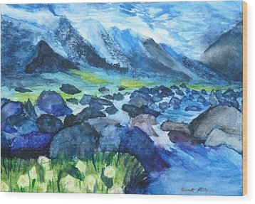 Mountain River Wood Print by Anna  Henderson