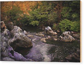 Mountain River With Rocks Wood Print by Radoslav Nedelchev