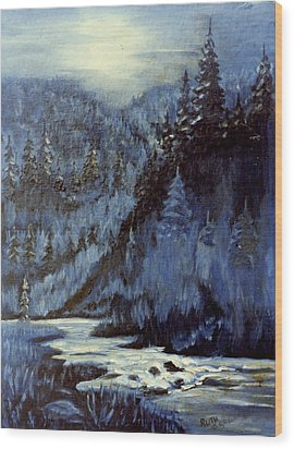 Mountain Stream In Moonlight Wood Print by Ruth Seal