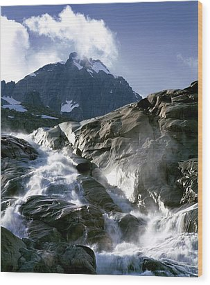 Mountain Stream, Swiss Alps Wood Print by Martin Bond