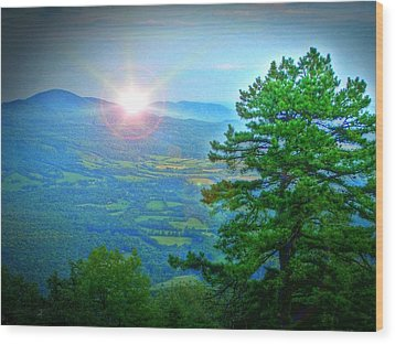 Mountain Sunrise Wood Print by Dan Stone