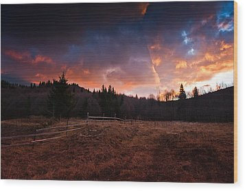 Mountain Sunrise Wood Print by Irinel Cirlanaru