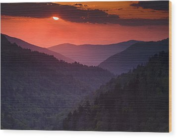 Mountain Sunset Wood Print by Andrew Soundarajan