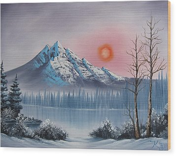 Mountain Sunset Wood Print by Kevin Hill