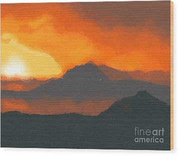 Mountain Sunset Wood Print by Pixel  Chimp
