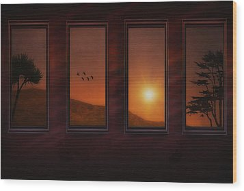 Mountain Sunset Wood Print by Tom York Images