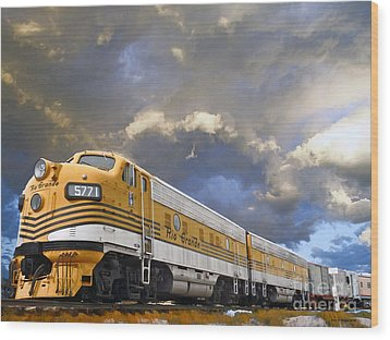 Mountain Train Wood Print by Jerry L Barrett