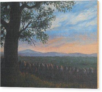 Mountain View Sunset Wood Print by Oksana Zotkina