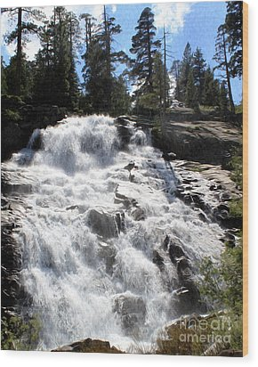 Mountain Waterfall  Wood Print by Anne Raczkowski