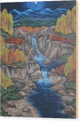 Wood Print featuring the painting Mountain Waters by Cheryl Pettigrew